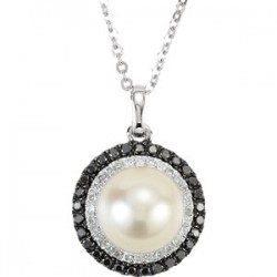 "14K White Freshwater Cultured Pearl with 1/4 CTW Black & White Diamond 18"" Necklace"