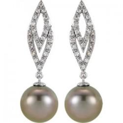 14K White 1/4 CTW Diamond and Tahitian Pearl Earrings