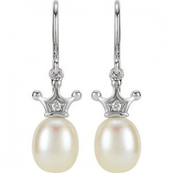 14K White .015 CTW Diamond and Freshwater Cultured Pearl Crown Dangle Earrings