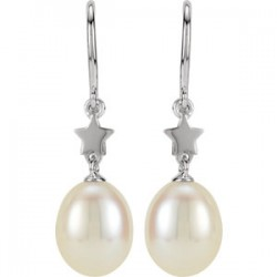 14K White Freshwater Cultured Pearl Star Dangle Earrings