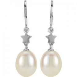 14K White Freshwater Cultured Pearl Star Dangle Earrings