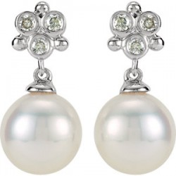 14K White .08 CTW Diamond and Freshwater Cultured Pearl Earrings