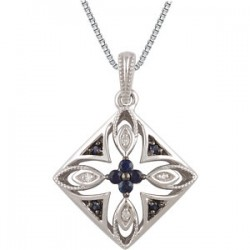 "Sterling Silver Blue Sapphire & .025 CTW Diamond 18"" Necklace"