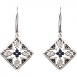 Sterling Silver Blue Sapphire & .04 CTW Diamond Lever Back Earrings