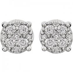 14K White 1/4 CTW Diamond Cluster Friction Post Earrings