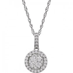"14K White 1/2 CTW Halo-Style Diamond 18"" Necklace"