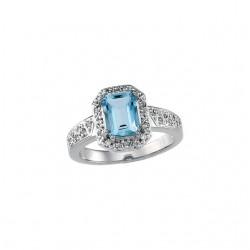 Aquamarine & Diamond Halo-Style Ring
