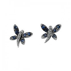 Blue Sapphire & Diamond Dragonfly Earrings