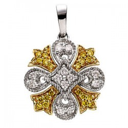 14K White & Yellow 1/4 CTW Diamond Pendant