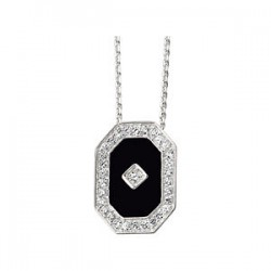 Onyx & Cubic Zirconia Necklace