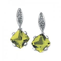 14K White Peridot & .04 CTW Diamond Earrings