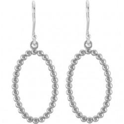 14K White Oval Beaded Design Earrings