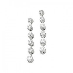 14K White 1 CTW Diamond Linear Earrings
