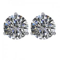 14kt White 1/2 CTW Diamond Threaded Post Earrings