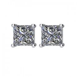14kt White 1/2 CTW Diamond Threaded Post Stud Earrings