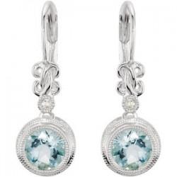 Sterling Silver Aquamarine & .02 CTW Diamond Earrings