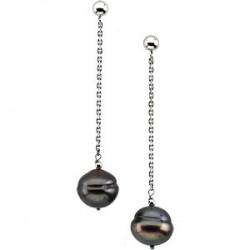 Sterling Silver Freshwater Cultured Black Pearl Earrings