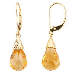 14kkt Yellow Citrine Briolette Earrings