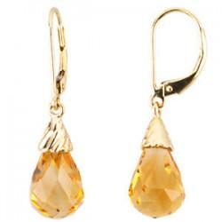14kkt Yellow Citrine Briolette Earrings