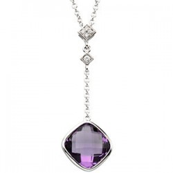"14K White Checkerboard Amethyst & .04 CTW Diamond 18"" Necklace"