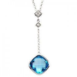 14K White Checkerboard Swiss Blue Topaz & .04 CTW Diamond Necklace