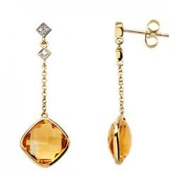 14K Yellow Citrine & .05 CTW Diamond Earrings