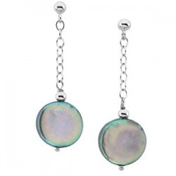 Sterling Silver Freshwater Cultured Black Coin Pearl Earrings