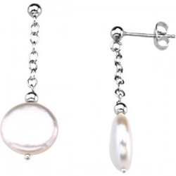 Sterling Silver 12-13mm Freshwater Cultured Coin Pearl Earrings