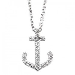 14K White 1/8 CTW Diamond Anchor Necklace