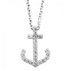 14K White 1/8 CTW Diamond Anchor Necklace