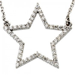 "14K White 1/4 CTW Diamond Star 16"" Necklace"