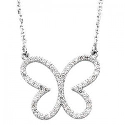 "14K White 1/3 CTW Diamond Butterly 16"" Necklace"