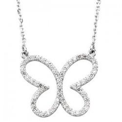 "14K White 1/3 CTW Diamond Butterly 16"" Necklace"
