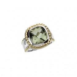 14K White & Yellow Green Quartz & 1/10 CTW Diamond Ring