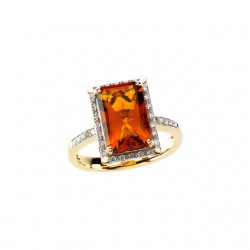 Madeira Citrine & Diamond Halo-Style Ring