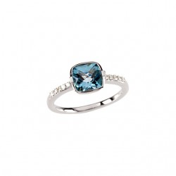 14K White Swiss Blue Topaz & 1/10 CTW Diamond Ring
