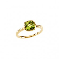 14K Yellow Checkerboard Peridot & 1/10 CTW Diamond Ring