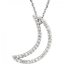 "14K White 1/5 CTW Diamond Crescent Moon 16"" Necklace"