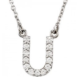 "14K White Letter ""S"" 1/6 CTW Diamond 16"" Necklace"