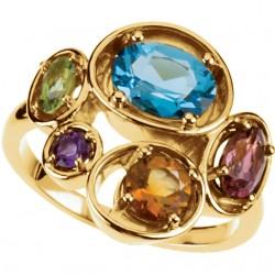 Swiss Blue Topaz, Pink Tourmaline, Peridot, Amethyst & Citrine Ring