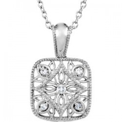 "Sterling Silver .05 CTW Diamond Accented 18"" Necklace"