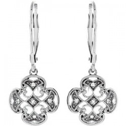 Sterling Silver .07 CTW Diamond Accented Lever Back Earrings