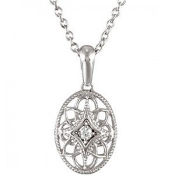 "Sterling Silver .03 CTW Diamond 18"" Necklace"