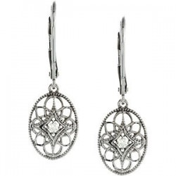 Sterling Silver .06 CTW Diamond Lever Back Earrings