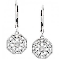 Sterling Silver .07 CTW Diamond Lever Back Earrings
