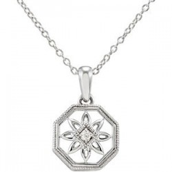 "Sterling Silver .02 CTW Diamond 18"" Necklace"