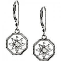 Sterling Silver .04 CTW Diamond Lever Back Earrings