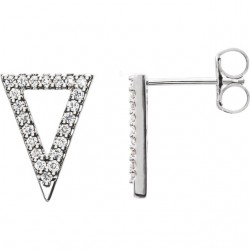 14K White 1/4 CTW Diamond Triangle Earrings