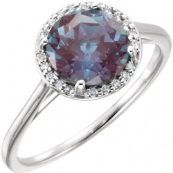 14K White ChathamB. Created Alexandrite and .05CTW Diamond Ring