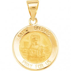 14K Yellow 18.25mm Round Hollow St. Barbara Medal